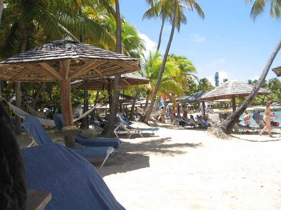 Curtain Bluff Resort: Beautiful beach w/plenty of shade from the very bright sun