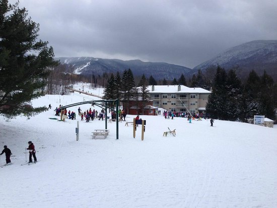 Smugglers' Notch Resort : View out Liftside 56+A.  Ski in and ski out, yes.