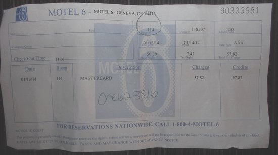 Motel 6 Geneva : Le reçu de $57.82 au 14 janvier 2014 ( J'ai effacé mon nom volontairement sur le reçu)