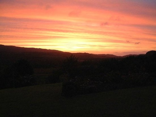 Druimnacroish: sunset looking out from the conservatory