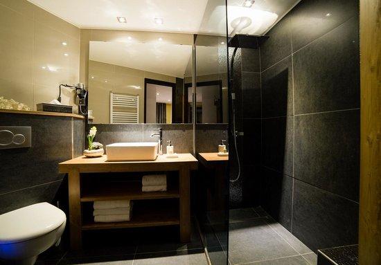 Hôtel Edelweiss : Salle de bain - Chambre double - Appartement 100m2
