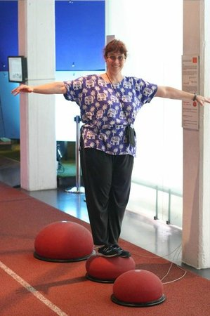 German Sports and Olympic Museum : Author's Wife Testing one of the Interactive Exhibits