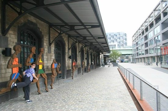 German Sports and Olympic Museum : Front of Museum (on Left) with Author's Wife
