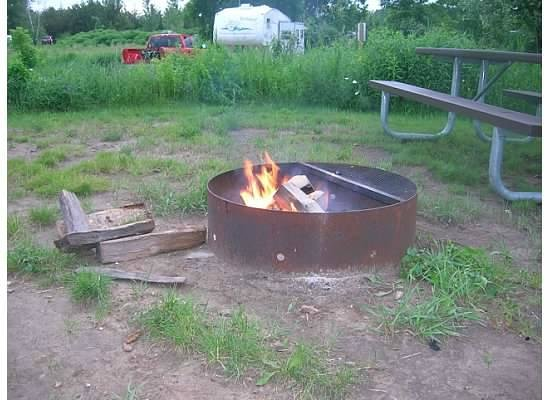 Willow River State Park: campfire at site.