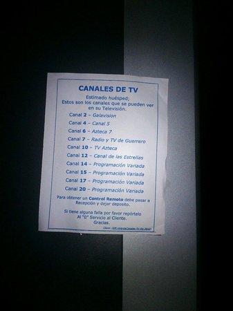 Club Del Sol Acapulco: Pocos canales en la tv