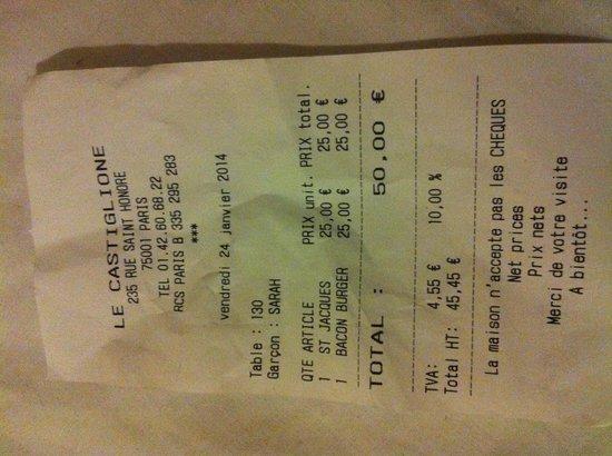 Le Castiglione : Note Bacon Burger + St Jacques
