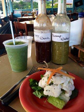 El Varadero Seaside Grill: Frozen mojito, grouper ceviche and housemade hot sauces