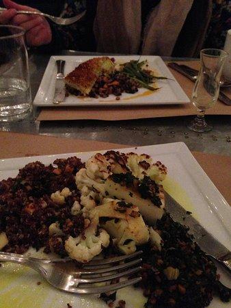 Kitchen No. 324: Cauliflower steak and Cod dish across table