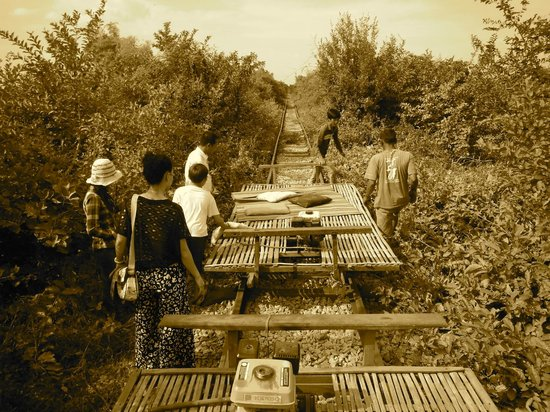"""The Bamboo train locally known as a """"norry"""" made its first appearance in the 1970's"""