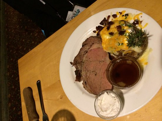 Grub Steak Restaurant : Prime rib with baked potato.