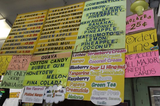 Matsumoto Shave Ice: Flavour Selection List