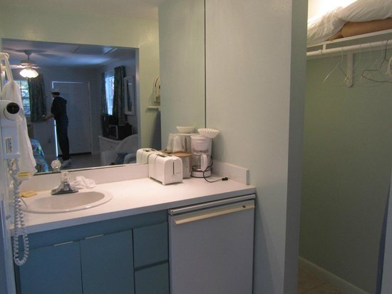Amoray Dive Resort: Vanity area with sink, frige, and hair dryer