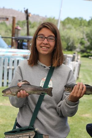 Cardinal Village Resort: My niece with her catch of the day!
