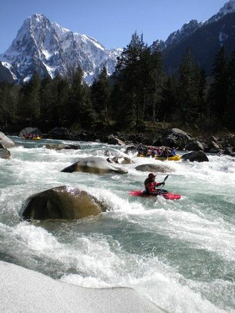 Alpine Adventures: Skykomish spring rafting on a sunny day, one hour from Seattle.