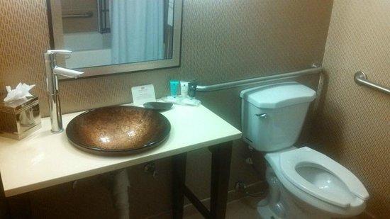 Crowne Plaza Sacramento Bathroom Vanity With Handicap Thing Visible In Mirror