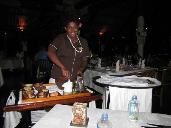 Outrigger Fiji Beach Resort: making our ceaser salad at IVI