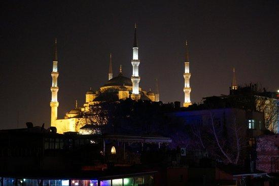 Saba Sultan Hotel : La mosquée bleue de nuit depuis la terrasse
