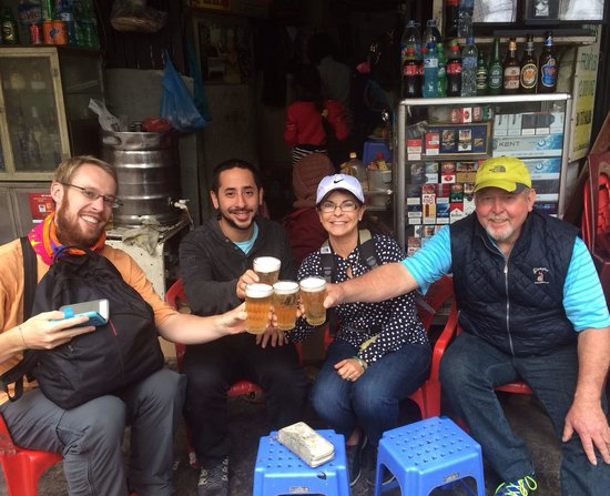 Hanoi Motorbike Street Foods - Day Tours: Local Hanoi beer stop! Cheers!