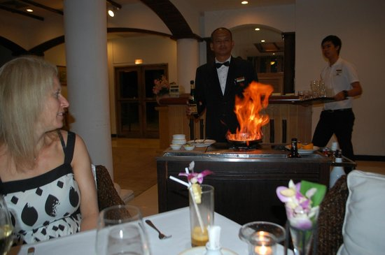 Top Of The Reef at Cape Panwa Hotel : Head waiter only warmed up during his party piece. Shame