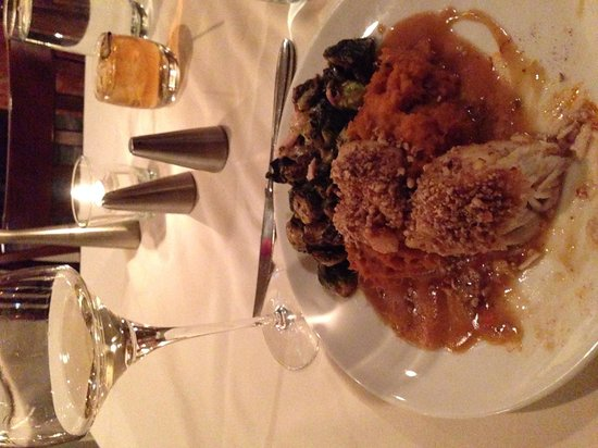 Varanese: Pecan encrusted corvina, mashed sweet potatoes, amazing Brussel sprouts. Excellent dinner at Var