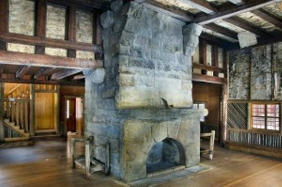 Newcomb, NY: Monumental stone fireplace