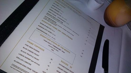 Fontainebleau Miami Beach: gotham steak menu