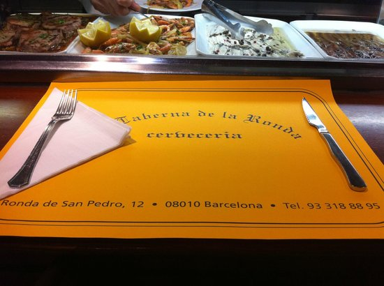 La Taberna de la Ronda: Setting mat with address and phone number