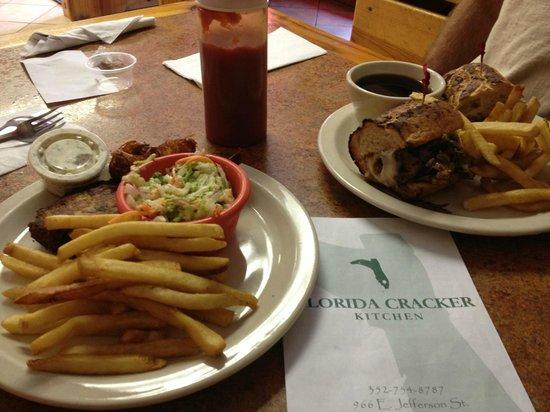 Florida Cracker Kitchen: Crab Cakes & coconut shrimp, Pot Roast sandwich...Actually, the picture does not do it justice!