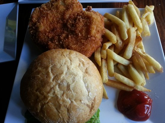 Caribbean Saloon: deep fried chicken sandwich & yummy fries hot and fresh