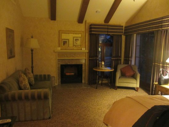 Vintners Inn : Room with fireplace and view of the vineyards