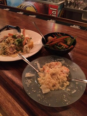 Gingerbread Restaurant: shrimp risotto, caesar salad & fresh tuna salad