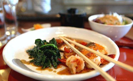 Unkai Restaurant: Основное блюдо, рыба и креветки