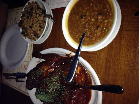 Virgil's Real BBQ : Bbq chicken with rice and beans