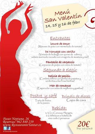 Restaurante Yantar: Menú para San Valentin en la playa de Gandía