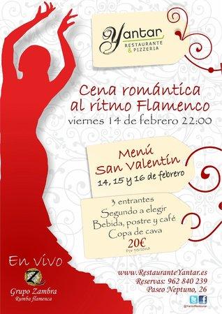 Restaurante Yantar: Menú para San Valentin con musica en vivo en la playa de Gandía