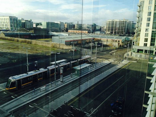 The Gibson Hotel: the tram which takes you to the centre in 10 mins (view from hotel)