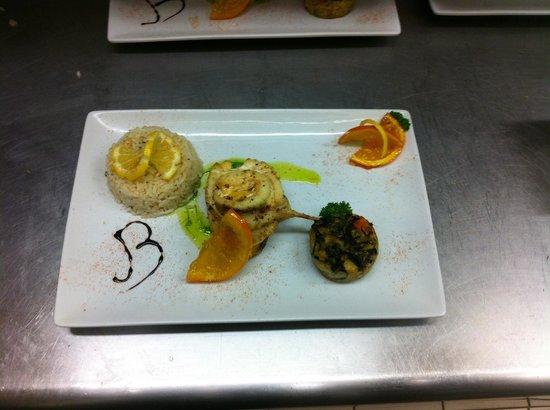 Le baroque cafe : Tournedos de loup aux agrumes et oranges confites