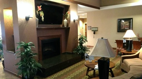 Homewood Suites by Hilton Fayetteville : Dining room fireplace