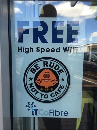 Be Rude Not To Cafe: free high speed (fibre) wifi