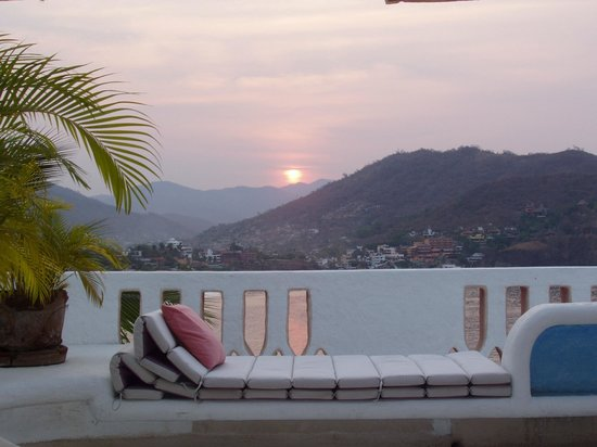 Sunset over Zihuatanejo Bay from upper patio