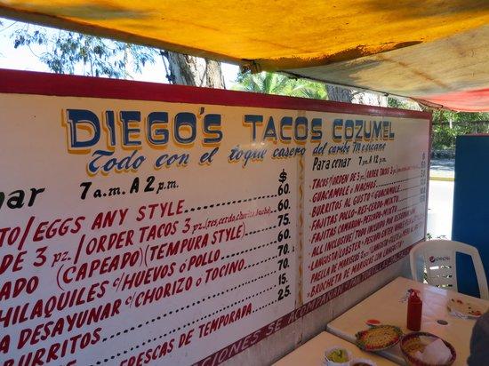 Diego's Menu