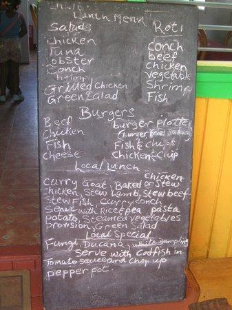 Caribbean Taste Restaurant: The menu for the day
