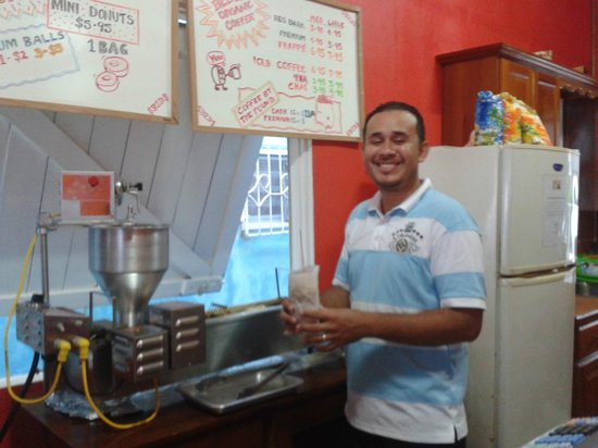 Ice and Beans Coffee Shop : Abner with our fresh batch of mini-doughnuts