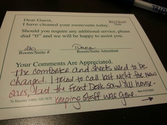 Microtel Inn & Suites by Wyndham San Angelo: Card left for housekeeping