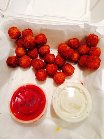 Stolfa's Pizza: This was the order of cheeseballs.  They are cubes of cheddar cheese fried.