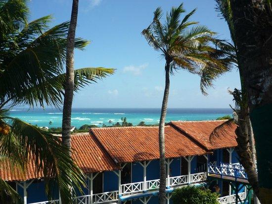 Sol Caribe Sea Flower Hotel: La vista del hotel del campo donde se pasa el día en la playa privada