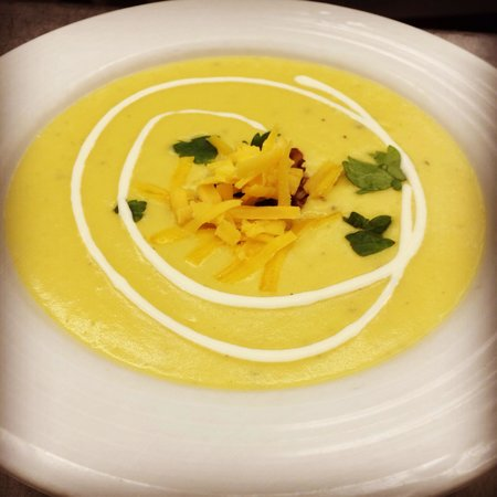 Bianca: Roasted potatoe and chive soup with creme fraiche