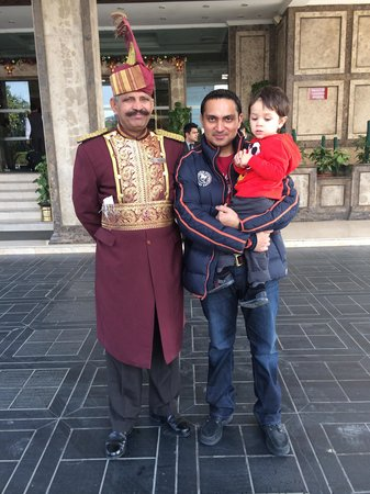 The Suryaa New Delhi: Me and my Son with Hotel Door man