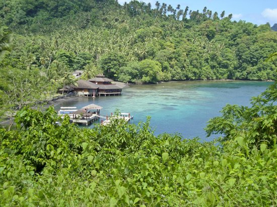 Kungkungan Bay Resort: View of the resort from the top of a hill where the road is.