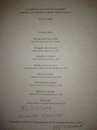 Dolomieu: Tasting menu from 20 January 2014